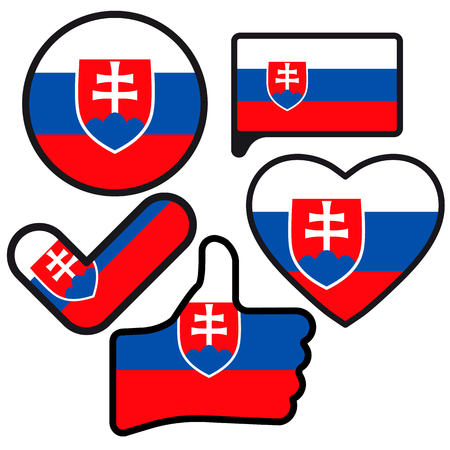 Flag of Slovakia  in the shape of Button, Heart, Like, Check mark, flat style, symbol of love for his country, patriotism, icon for Independence Day. Ilustracja