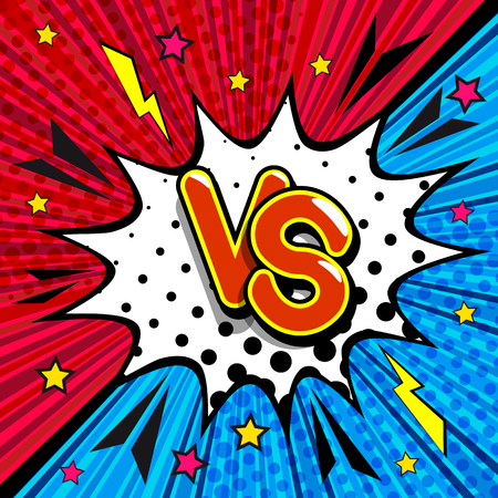 VS - comic retro lettering with shadows, halftone pattern on retro poster background. Cloud of explosion with the inscription: versus. Bright vector illustration in vintage pop art style.