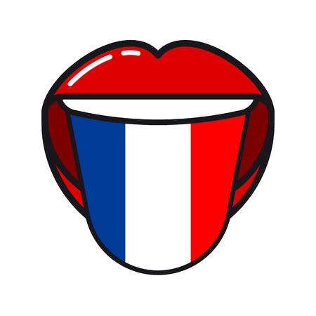 Langue de langue française avec drapeau France femme ouverte sourire bouche icône plate