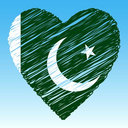 Pakistani flag, Heart shape, grunge style.
