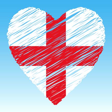 England flag, Heart shape, grunge style.