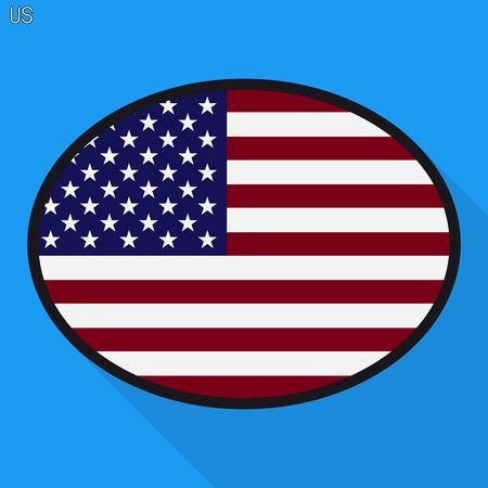 America flag speech bubble, social media communication sign, flat business oval icon.