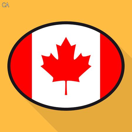 Canada flag speech bubble, social media communication sign, flat business oval icon. Stock Illustratie