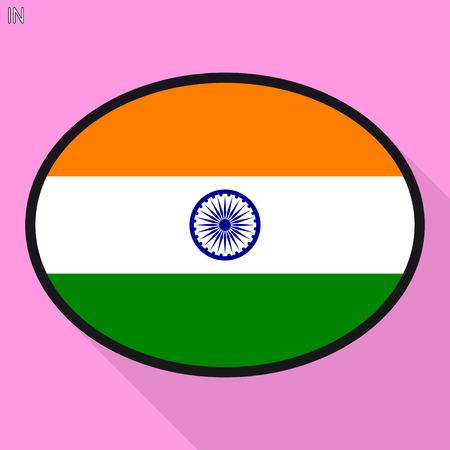 India flag speech bubble, social media communication sign, flat business oval icon. Stock Illustratie