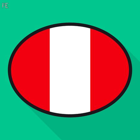 Peru flag speech bubble, social media communication sign, flat business oval icon.