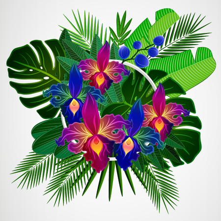 Tropical leaves with yellow orchid flowers and white frame on isolate background.