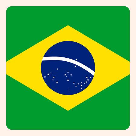 Brazil square flag button, social media communication sign, business icon. Ilustração