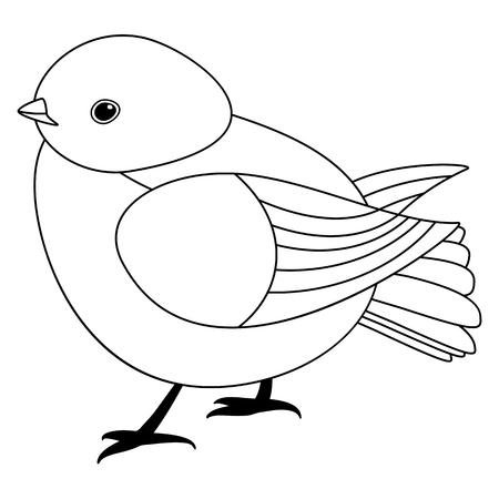 Línea pájaro lindo, estilo colorante aislado sobre fondo blanco, vector de señal.