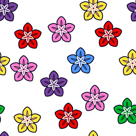 Colorful flower seamless pattern on white background. Paper print design. Abstract retro vector illustration. Trendy textile, fabric, wrapping. Modern space decoration.