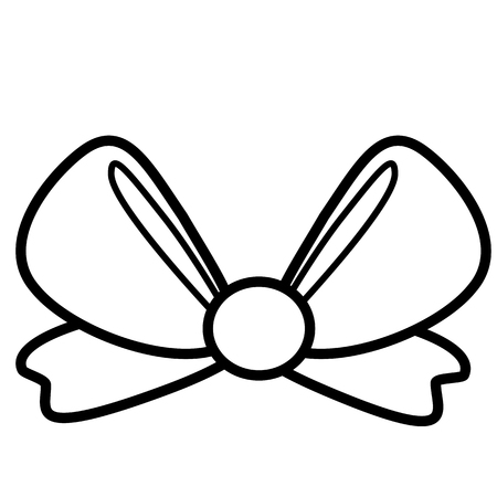 Bow icon. Line art. White background. Social media icon. Business concept. Sign, symbol, web element. Tattoo template. Website pictogram. Imagens - 124511331