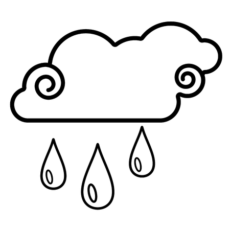 Cloud, rain icon. Line art. White background. Social media icon. Business concept. Sign, symbol, web element. Tattoo template. Website pictogram. Imagens - 124511339