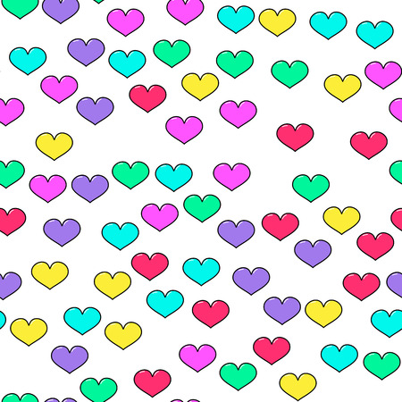 Colorful heart seamless pattern on white background. Paper print design. Abstract retro vector illustration. Trendy textile, fabric, wrapping. Modern space decoration.
