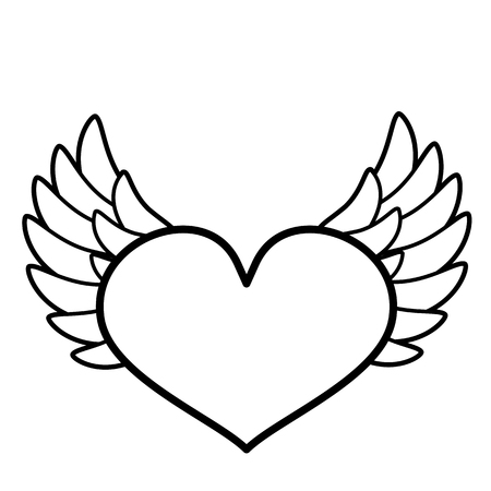 Heart, wings icon. Line art. White background. Social media icon. Business concept. Sign, symbol, web element. Tattoo template. Website pictogram.