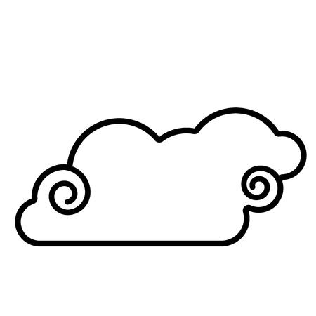 Cloud icon. Line art. White background. Social media icon. Business concept. Sign, symbol, web element. Tattoo template. Website pictogram. Ilustração