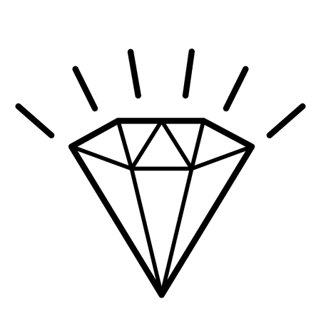 Diamond, icon. Line art. White background. Social media icon. Business concept. Sign, symbol, web element. Tattoo template. Website pictogram. Imagens - 124511347