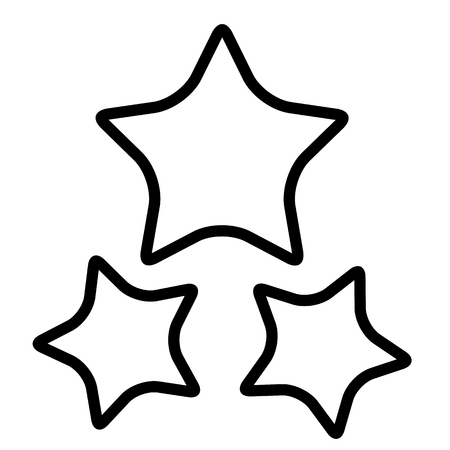 Stars icon. Line art. White background. Social media icon. Business concept. Sign, symbol, web element. Tattoo template. Website pictogram.