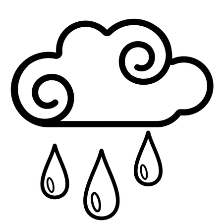 Cloud, rain icon. Line art. White background. Social media icon. Business concept. Sign, symbol, web element. Tattoo template. Website pictogram. Imagens - 124511360