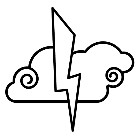 Cloud, lightning icon. Line art. White background. Social media icon. Business concept. Sign, symbol, web element. Tattoo template. Website pictogram.
