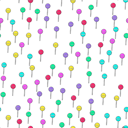 Colorful lollipop seamless pattern on white background. Paper print design. Abstract retro vector illustration. Trendy textile, fabric, wrapping. Modern space decoration. Ilustração