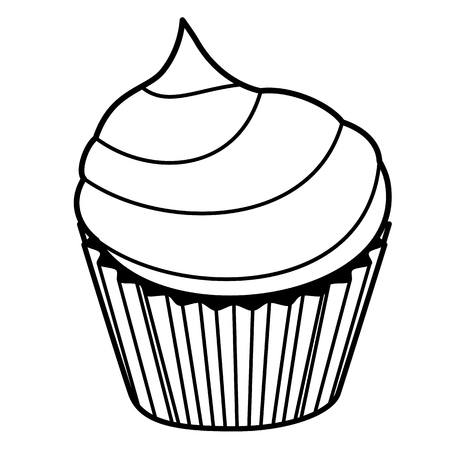 Cake icon. Line art. White background. Social media icon. Business concept. Sign, symbol, web element. Tattoo template. Website pictogram.