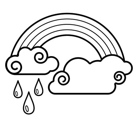Cloud, rainbow, rain icon. Line art. White background. Social media icon. Business concept. Sign, symbol, web element. Tattoo template. Website pictogram. Imagens - 124511369