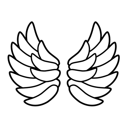 Wings icon. Line art. White background. Social media icon. Business concept. Sign, symbol, web element. Tattoo template. Website pictogram.