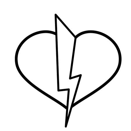 Heart, lightning icon. Line art. White background. Social media icon. Business concept. Sign, symbol, web element. Tattoo template. Website pictogram. Ilustração
