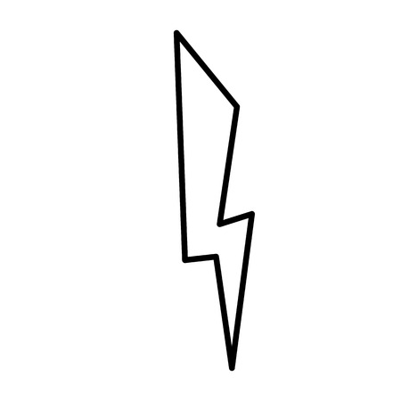 Lightning icon. Line art. White background. Social media icon. Business concept. Sign, symbol, web element. Tattoo template. Website pictogram.