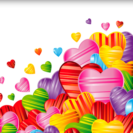 Vector Valentine's day background with striped pattern hearts , design illustration.