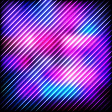 Colorful neon lines on a dark background, vector abstract illustration. Ilustração