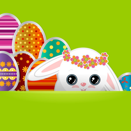 Spring greeting background with Easter eggs and a cute little white bunny. Festive paper images of decorated eggs and rabbit on a green background. Vector greetings card with the Happy Easter!