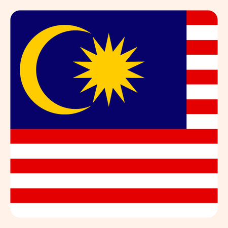 Malaysia square flag button, social media communication sign, business icon.