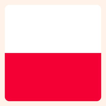 Poland square flag button, social media communication sign, business icon. Ilustração