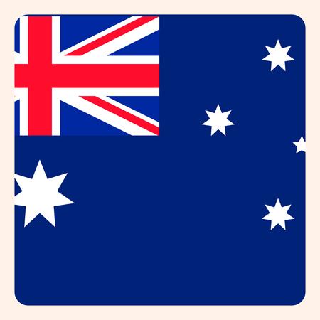 Australia square flag button, social media communication sign, business icon.
