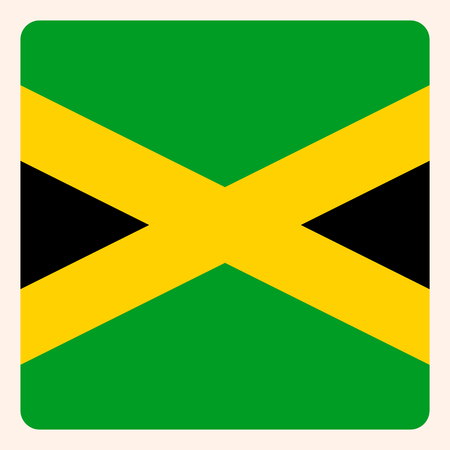 Jamaica square flag button, social media communication sign, business icon.