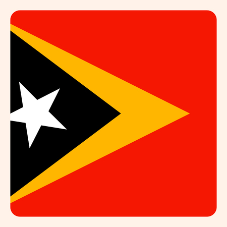 East Timor square flag button, social media communication sign, business icon.
