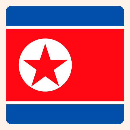 North Korea square flag button, social media communication sign, business icon. Vectores