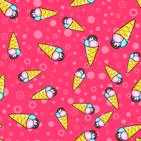 Ice cream seamless pattern on white background. Paper print design. Abstract retro vector illustration. Trendy textile, fabric, wrapping. Modern space decoration.