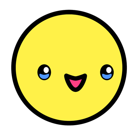 Flat kawaii emoji face. Cute funny cartoon character. Simple line art expressions web icon. Emoticon sticker. Vector graphic illustration. Ilustração