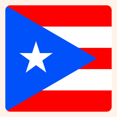 Puerto Rico square flag button, social media communication sign, business icon. Vettoriali