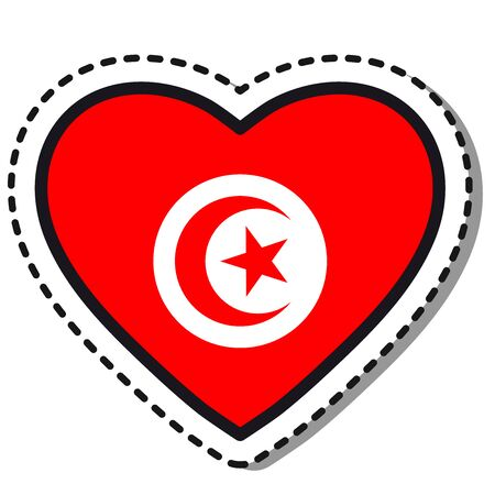 Flag Tunisia heart sticker on white background. Vintage vector love badge. Template design element. National day. Travel sign. Imagens - 124838597