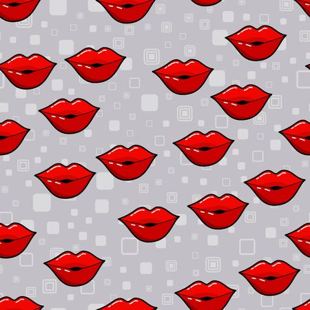 Lips seamless pattern on white background. Paper print design. Abstract retro vector illustration. Trendy textile, fabric, wrapping. Modern space decoration.