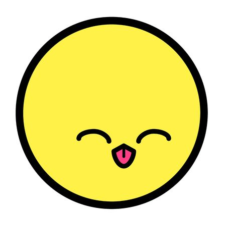 Flat kawaii emoji face. Cute funny cartoon character. Simple line art expressions web icon. Emoticon sticker. Vector graphic illustration. Ilustração