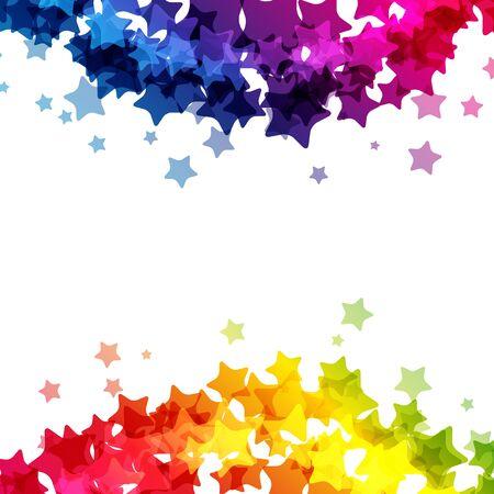 Rainbow stars  border, vector  texture, carnival bright decoration card. Imagens - 125100961