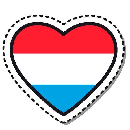 Flag Luxembourg heart sticker on white background. Vintage vector love badge. Template design element. National day. Travel sign. Ilustração