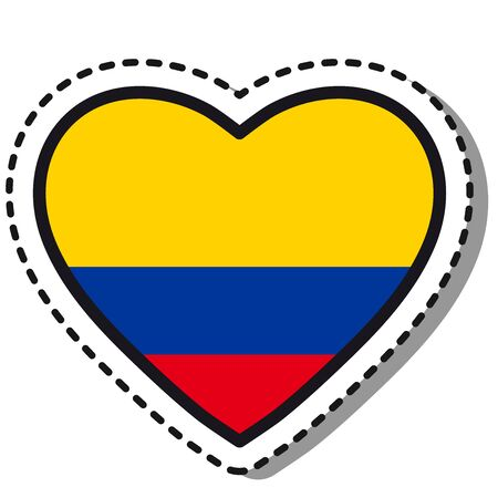 Flag Colombia heart sticker on white background. Vintage vector love badge. Template design element. National day. Travel sign.