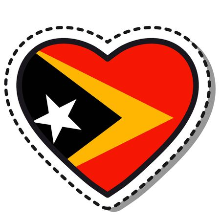 Flag East Timor heart sticker on white background. Vintage vector love badge. Template design element. National day. Travel sign. Imagens - 125100970