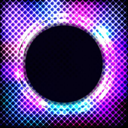 Colorful neon round frame on a dark background, vector abstract illustration.