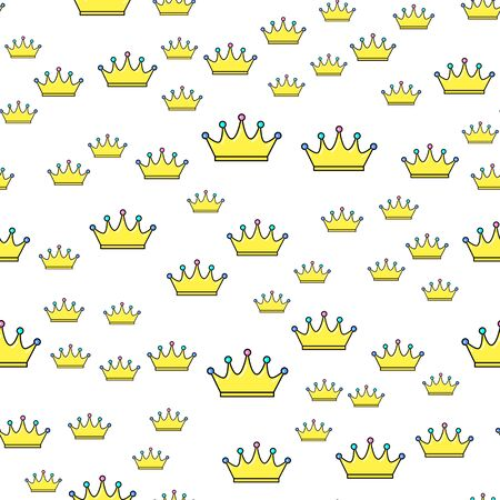 Crown seamless pattern on white background. Paper print design. Abstract retro vector illustration. Trendy textile, fabric, wrapping. Modern space decoration. Ilustração
