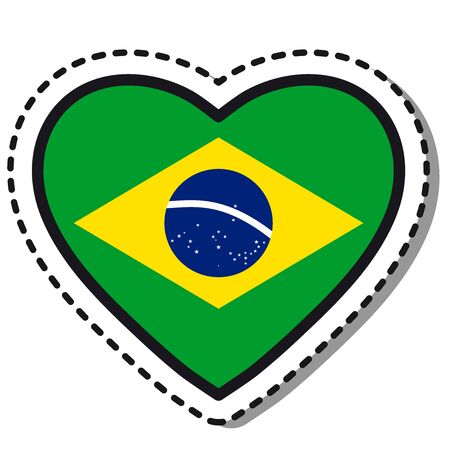 Flag Brazil heart sticker on white background. Vintage vector love badge. Template design element. National day. Travel sign. Imagens - 126493769